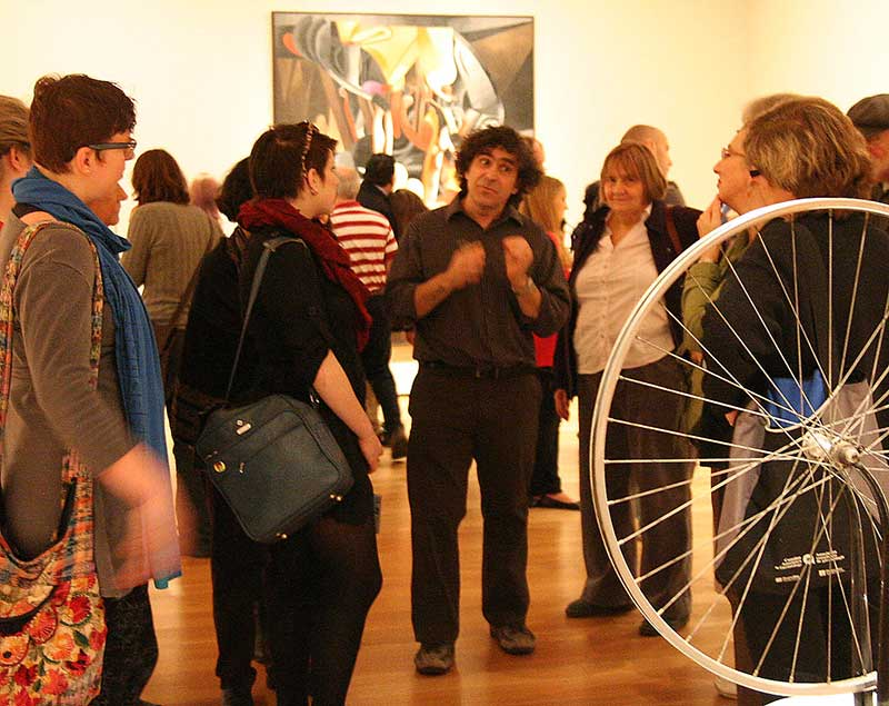 Yves M. Larocque in Museum of Modern Art teaching during art tour to New York Icty from Ottawa.