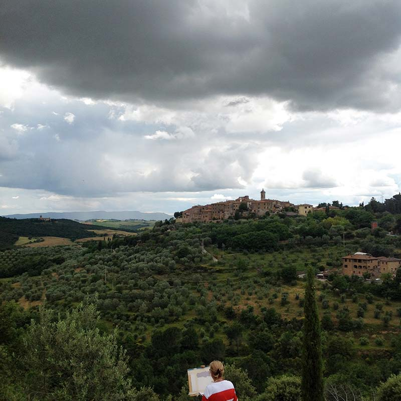 Painting Castelmuzzio during painting workshop in Italy with Walk the Arts