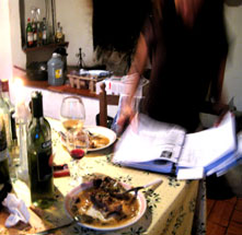 Working on a Studio Italia painting workshop recipe in Tuscany
