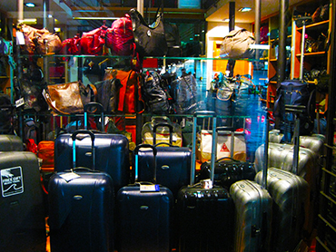 Shopping for luggage for our painting workshop art retreat in Italy Europe