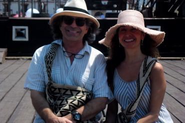 Yves Larocque and Monica Marquez directors of Walk the Arts in Cartagena during art and food workshop in Colombia South America