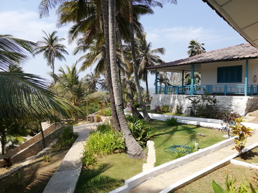 View of a seafront hotel in the Caribbean Coast of Colombia during Walk the Arts winter holidays in South America