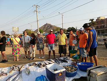 Group at the Bazurto Market during Walk the Arts food tour in Cartagena and art workshop in South America