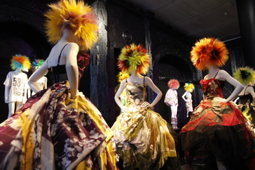Mannequins with colorful dresses at the Met during Walk the Arts New York Art Bus Trip from Ottawa Gatineau Kingston