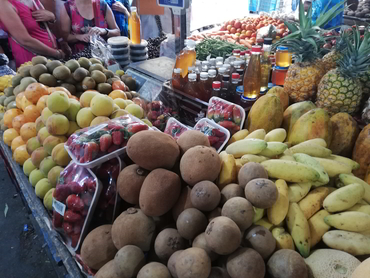 Nispero, curuba and other Colombian fruits at the local market during Walk the Arts art workshop winter holiday in South America