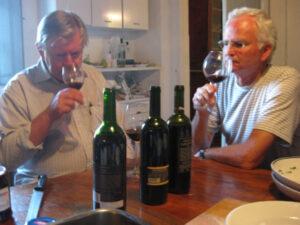 Husbands tasting wine during Walk the Arts workshop